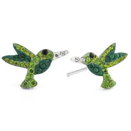 Sterling Silver Pave Crystal Hummingbird Stud Earrings