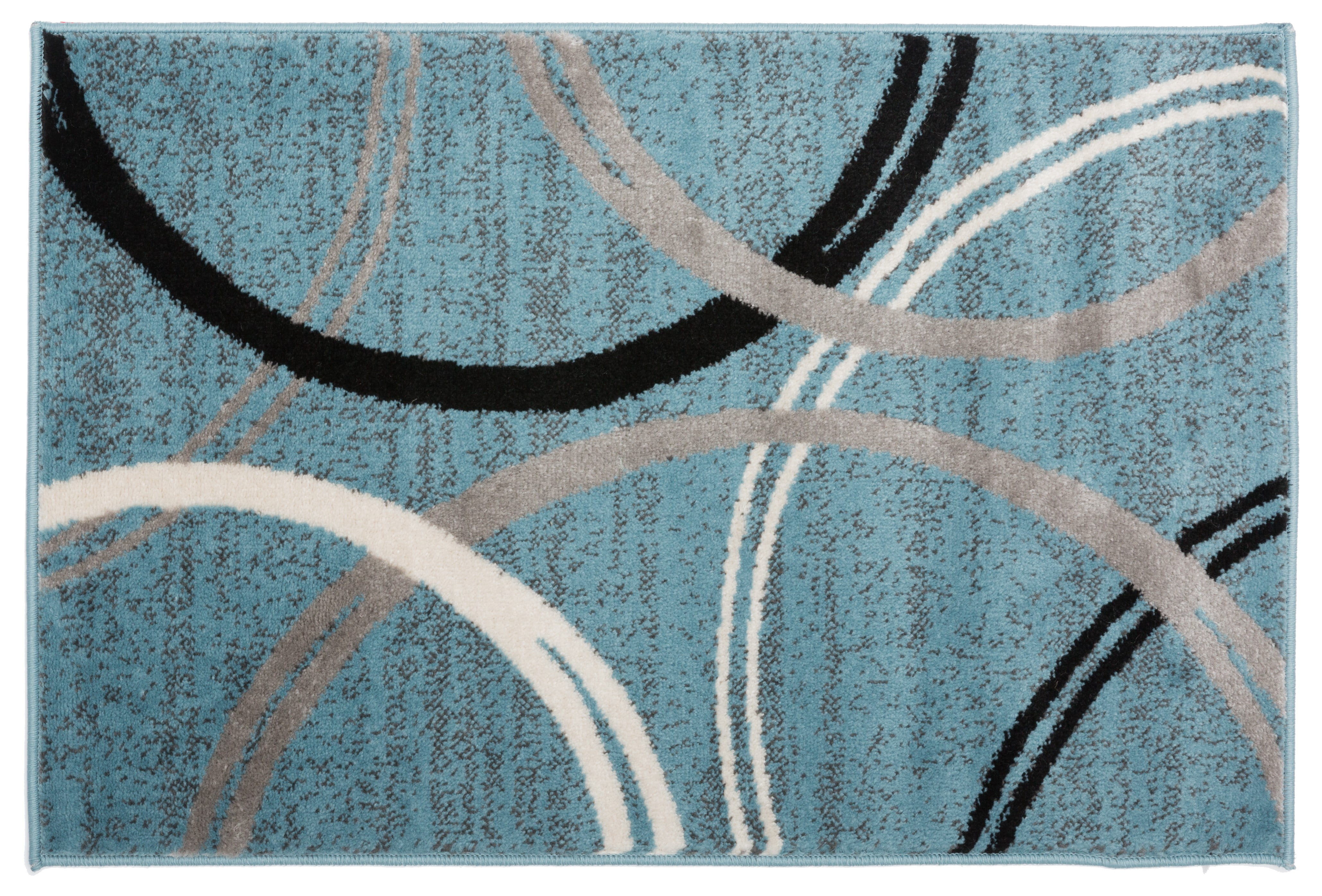 Modern Abstract Circles Design Area Rug 2 X 3 Blue