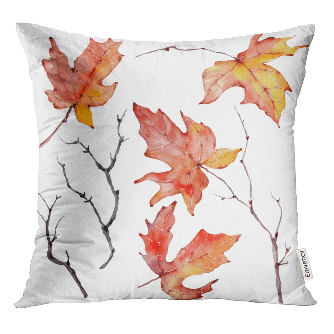 Rylablue Orange Branch Watercolor Branches Floral Bohemian Yellow Autumn Fall Throw Pillowcase Cushion Case Cover Walmart Canada
