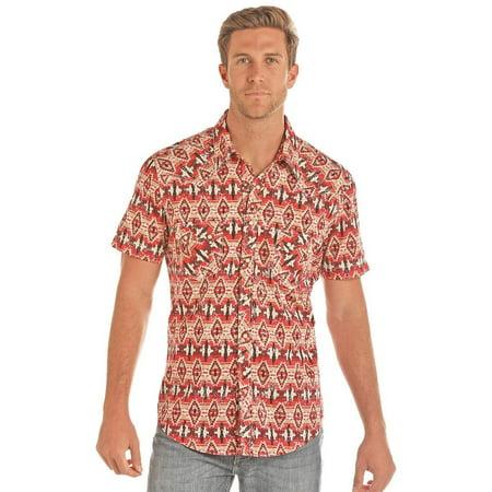 Rock & Roll Men's Aztec Pattern Short Sleeve Western Snap Shirt -