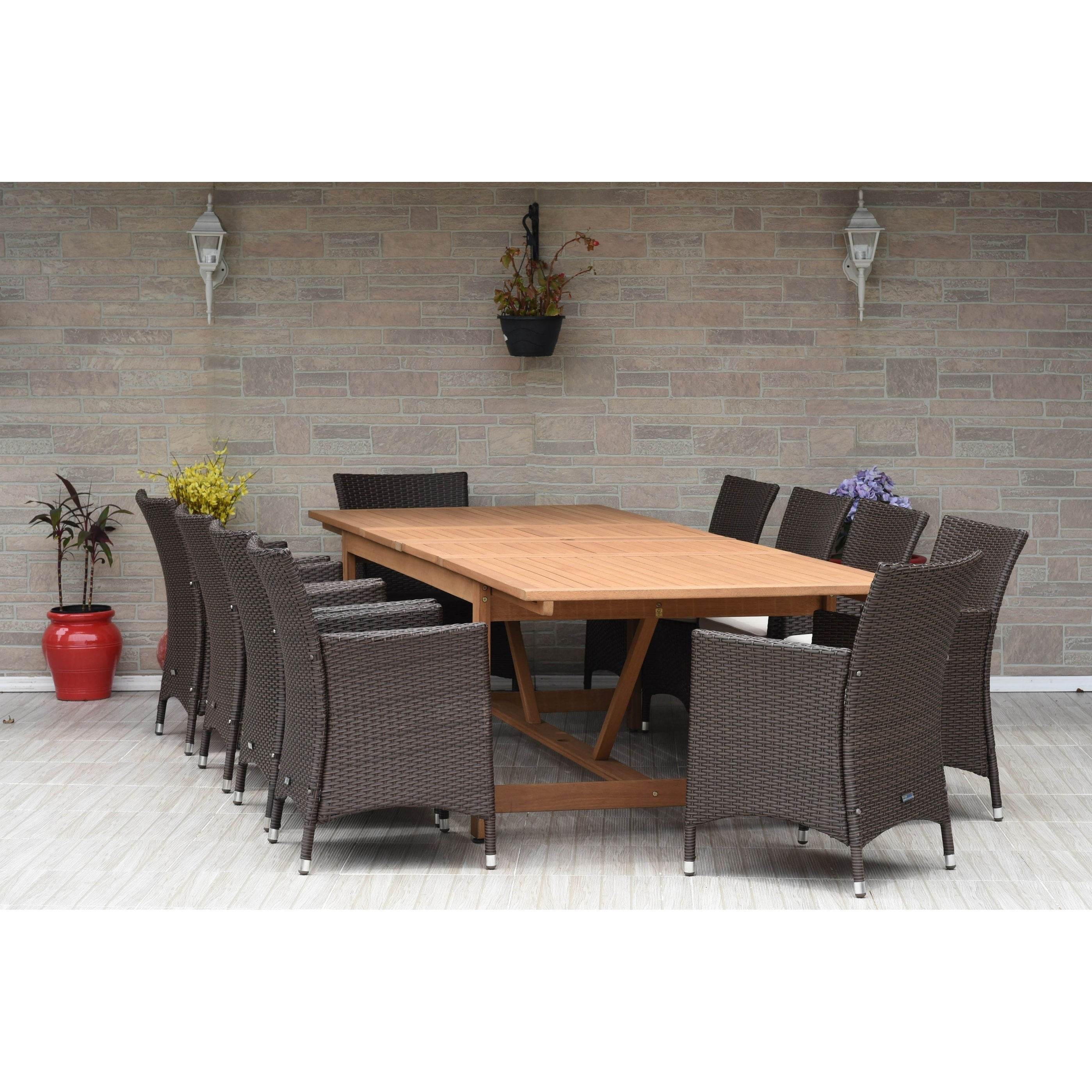 Amazonia Stacy 11-pc Wood & Wicker Double Extendable Dining Room Set 100% FSC Teak Wood by Overstock