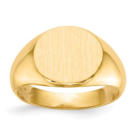 14k Yellow Gold 12.5x14.0mm Mens Signet Band Ring Size 10.00 Man Gift For Dad Mens For Him