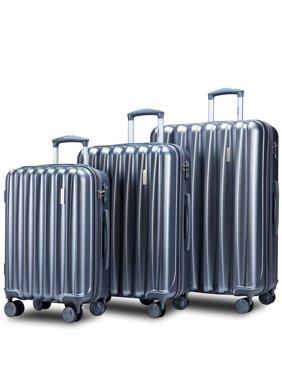 "3-Piece Suitcase Sets on Sale, SEGMART Lightweight Hardshell Luggage with TSA Lock, Heavyweight Carryon Suitcase Set: 20""/ 24''/ 28"", Large Capacity Storage for Traveling, Grey, S7685"