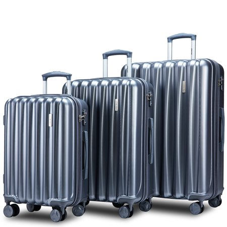3 Piece Luggage Sets on Sale, SEGMART Carryon Suitcase with TSA Lock, Lightweight Hardshell Luggage Dual Spinner Wheels Set: 20in 24in 28in, Spinner Heavyweight Suitcase for Traveling, Grey, S7677