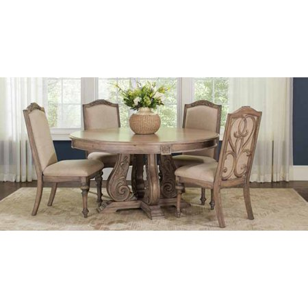 Linen Extension Dining Table - Coaster Company Ilana Round Formal Dining Table, Antique Linen