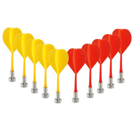 10pcs Replacement Durable Safe Plastic Wing Magnetic Darts Bullseye Target Game Toys (Red Yellow) (Magnetic Darts)