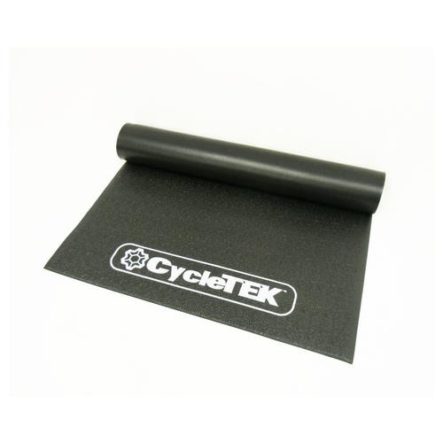 Cycletek Indoor Cycling Bicycle Trainer Mat 3' X 6.5' white embossed