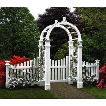 New England Arbors Two 4-ft. Cottage Picket Vinyl Arbor Wing