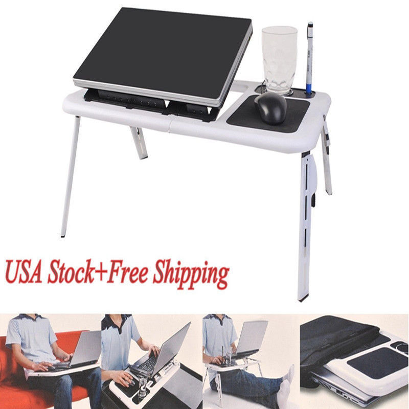 Delightful Durable Ergonomic Portable Foldable Laptop Computer Table Tray Desk With  Cooling Fan