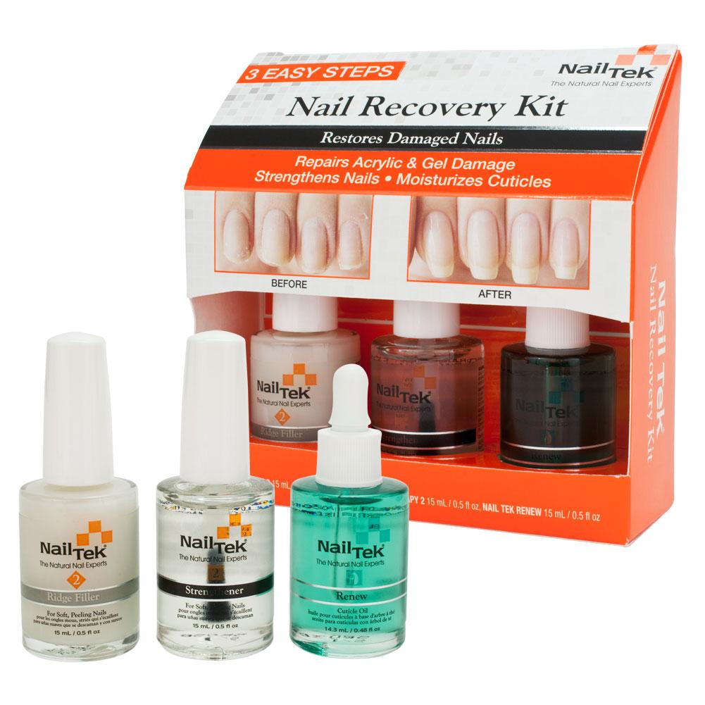 Nail Tek Nail Recovery Kit for Damaged Nails Base Coat Strengthener, CLEAR, 55840