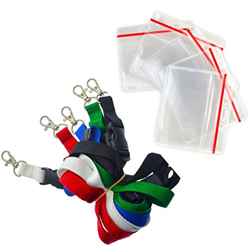 5 Pack - Premium Lanyards with Detachable Horizontal Re-Sealable ID Badge Holder by Specialist ID (Assorted Colors)