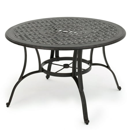 Fonzo Outdoor Cast Aluminum Circular Dining Table, Bronze