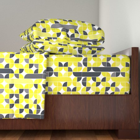 Citron Citron Dream Yellow Green Gold 100% Cotton Sateen Sheet Set by Roostery