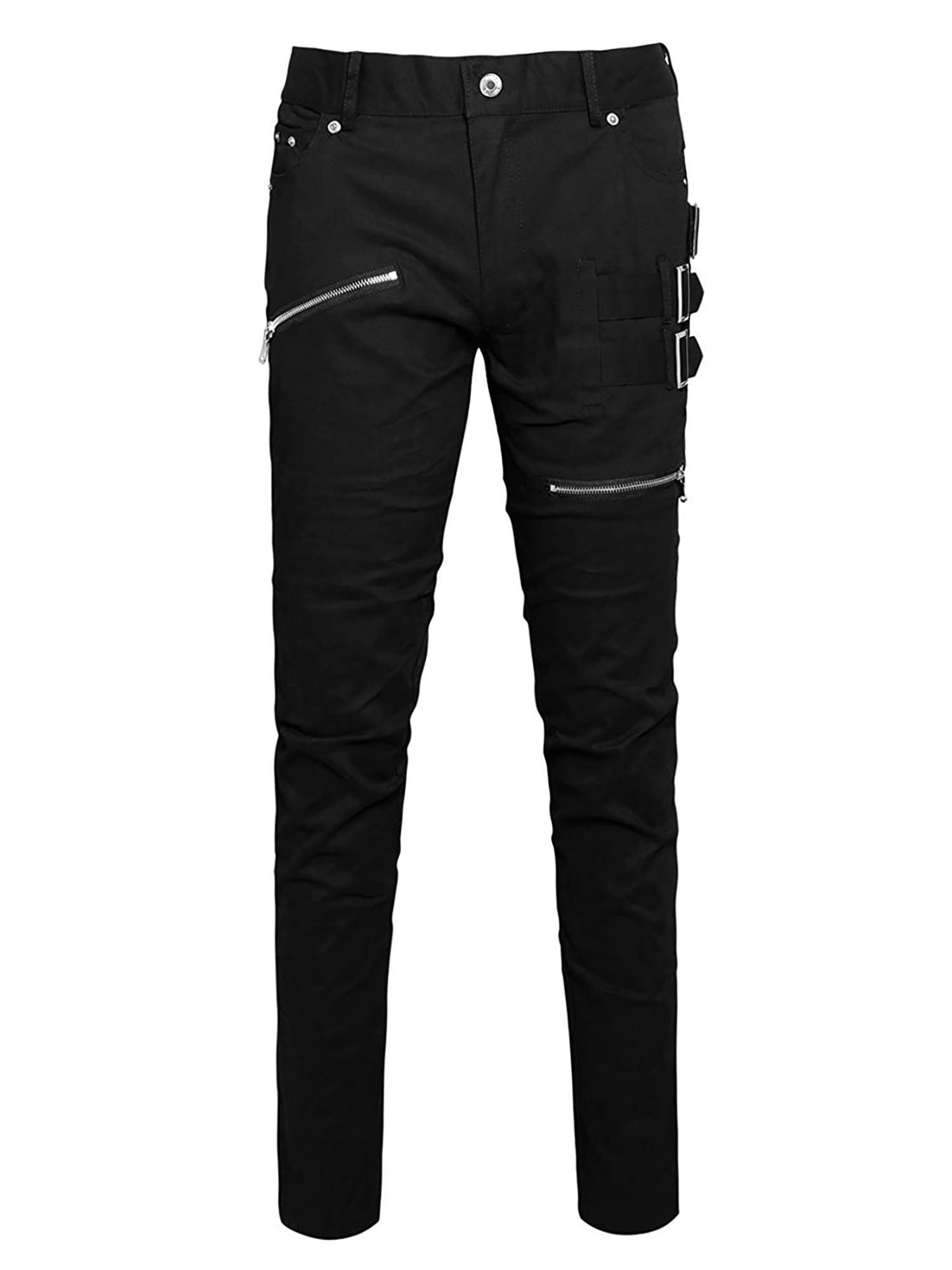 Men Zipper Buckle Decor Mid Rise Button Closure Casual Pants