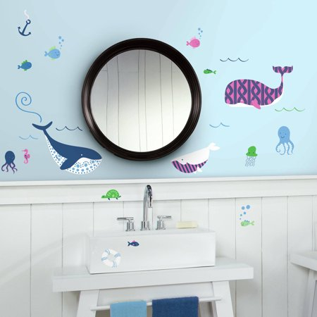 RoomMates Sea Whales Peel and Stick Wall Decals