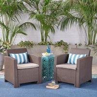 Sean Outdoor Faux Wicker Club Chairs with Cushions ,Beige,Brown