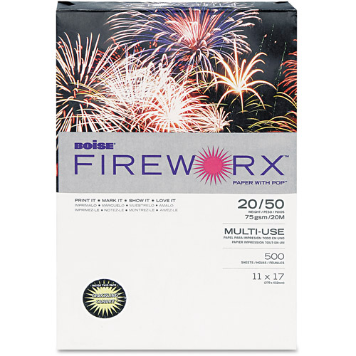 "Boise FIREWORX Colored Paper, 20 lb, 11"" x 17"", Crackling Canary, 500 Sheets/Ream"