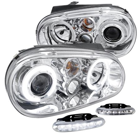 Gti Projectors (Spec-D Tuning Volkswagen 1999-2006 Golf Gti Mk4 Chrome Halo Projector Headlights + Led Fog Lamps (Left + Right) 1999 2000 2001 2002 2003 2004 2005 2006 )