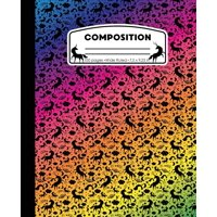 Composition : Unicorn Rainbow Marble Composition Notebook Wide Ruled 7.5 X 9.25 In, 100 Pages Book for Girls, Kids, School, Students and Teachers
