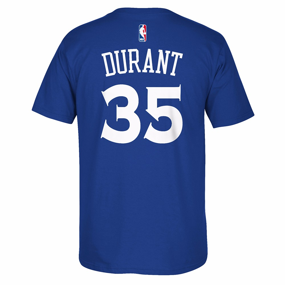 Kevin Durant Golden State Warriors NBA Adidas Blue Player Name & Number Short Sleeve T-Shirt For Men