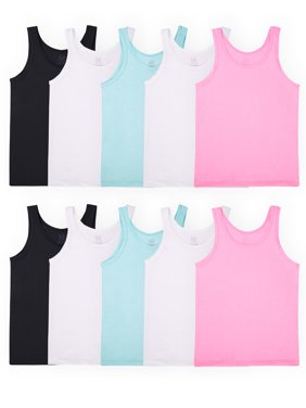 Fruit of the Loom Girls' Undershirts, Assorted Layering Tanks, 10 Pack (Little Girls & Big Girls)