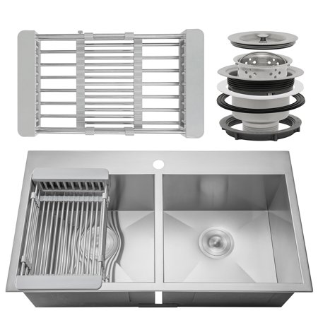 Akdy 33 X 22 X 9 Handmade Stainless Steel Top Mount Kitchen Sink Dual Basin Tray Strainer Kit