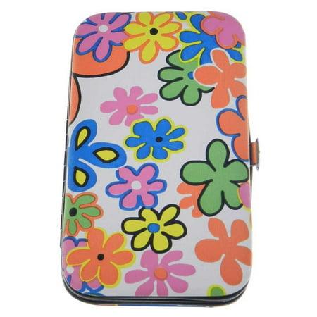 Manicure Set - Travel size- White/Green/Orange Floral (Travel Manicure Set)