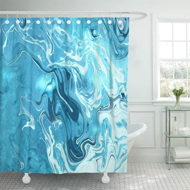 PKNMT Watercolor Abstract Blue Marble Aqua Architecture Artistic Beautiful Canvas Color Bathroom Shower Curtain 66x72 inch