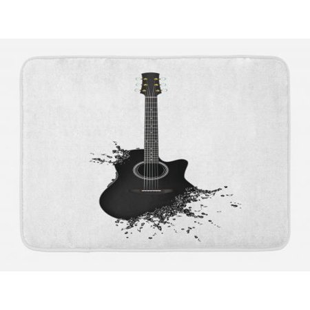Bath Outlet (Guitar Bath Mat, Monochrome Musical Instrument with Strings Acoustic Color Splashes Creative Outlet, Non-Slip Plush Mat Bathroom Kitchen Laundry Room Decor, 29.5 X 17.5 Inches, Black White,)