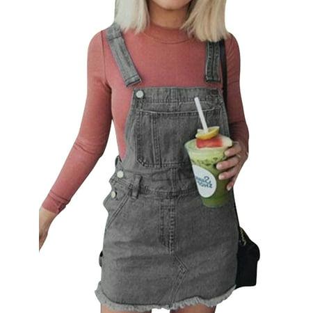 Fashion Women Short Denim Dress Summer Ladies Sleeveless A-Line Strap Dress Casual Overall Dress Slim Bib Suspender Jumper Jean Short Dress Size 6-18 Denim Blue S Cotton Spandex Jumper