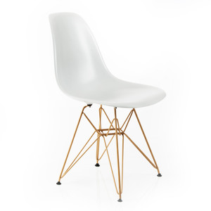 Mid Century Modern Eames Herman Miller Style Molded Side Chair White With Rosegold Wire Eiffel Legs - Set of 4