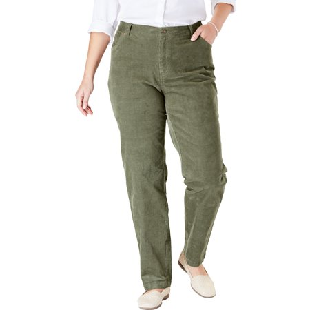 8060a9a64d3 Woman Within - Woman Within Plus Size Corduroy Straight Leg Stretch Pant -  Walmart.com