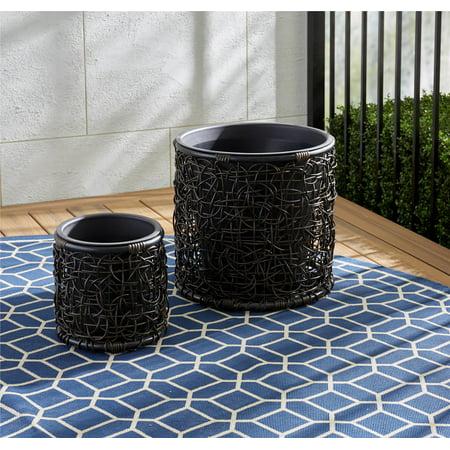 Baby Planter - Cosco Outdoor Nesting Pot Patio Planter 2-Piece Basket Box Set, Brown Wicker