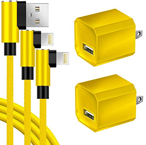 Chargers 2-Pack Charging Cable 90 Degree Cords and 2-Pack USB Wall Adapter Power Block Cube Plug Compatible iPhone X/8/8 Plus/7/7 Plus/6/ 6S /6 Plus/5S/SE/Mini/Air/Pro