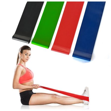 Set of 4 Light Medium Heavy and X-heavy Exercise Resistance Loop Bands Strength and Fitness For ...