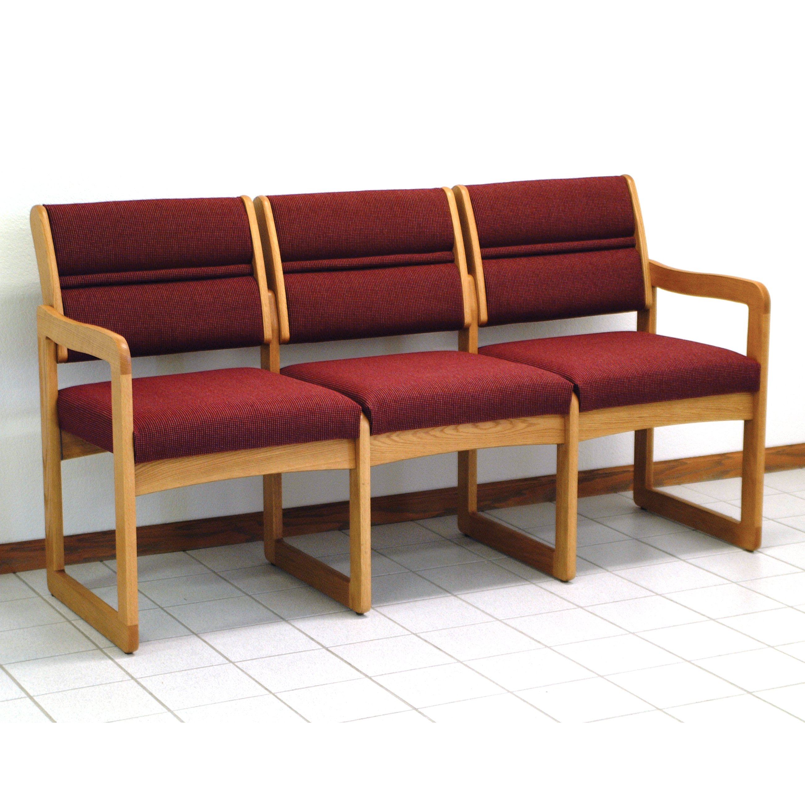 Wooden Mallet DW2-3 Solid Oak Sled Base 3-Seat Sofa