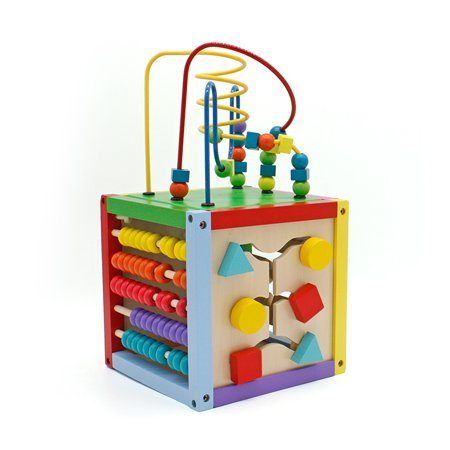 ktaxon bead maze cube 5 in 1 activity center wooden educational toddler toy for boys girls. Black Bedroom Furniture Sets. Home Design Ideas
