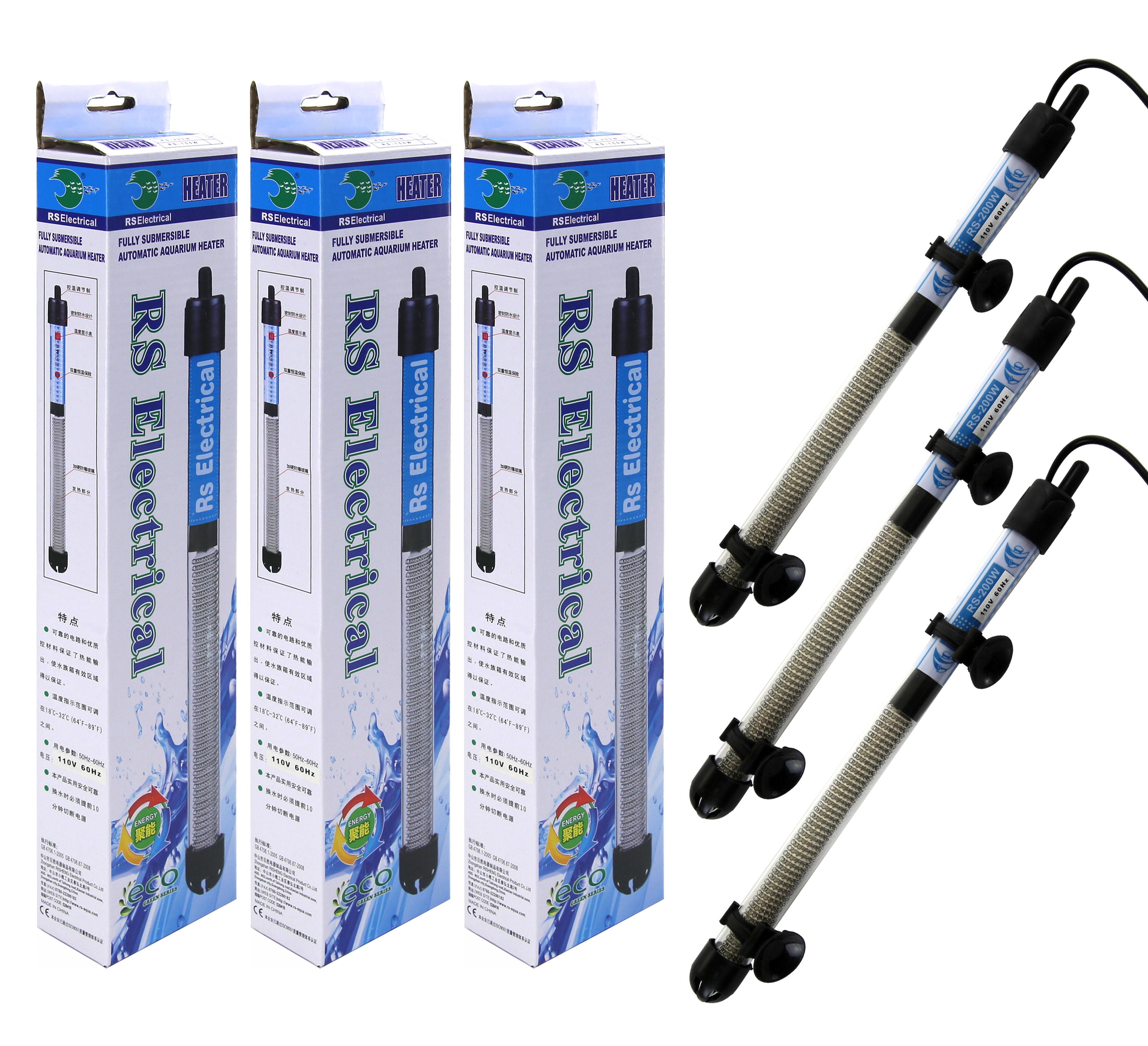 3 pieces Aquarium Heater Submersible Anti-Explosion Fish Tank Water Heater 200W