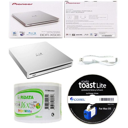 Pioneer 6x BDR-XS06 Slim Slot Portable External Blu-ray BDXL Burner, Roxio  Toast Lite Software and USB Cable Bundle with 50pk