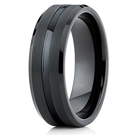 Tungsten Wedding Band Black Tungsten Ring Men & Women Tungsten Carbide Ring 8mm Comfort Fit