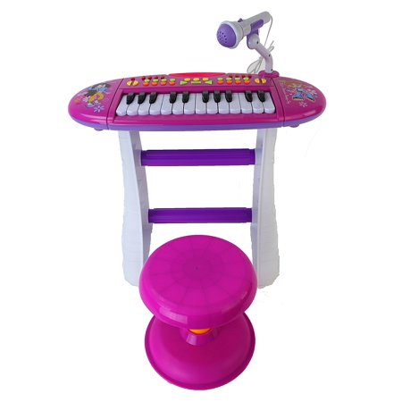 Portable Electronic Keyboard Instrument Multi-Function Pink Toy Piano w/ Lights, Sounds, Microphone, & Chair Stool
