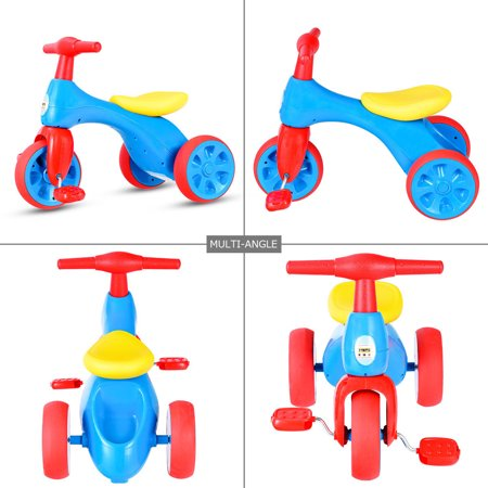 Costway 2 in 1 Toddler Tricycle Balance Bike Scooter Kids Riding Toys w/ Sound & Storage - image 7 of 10
