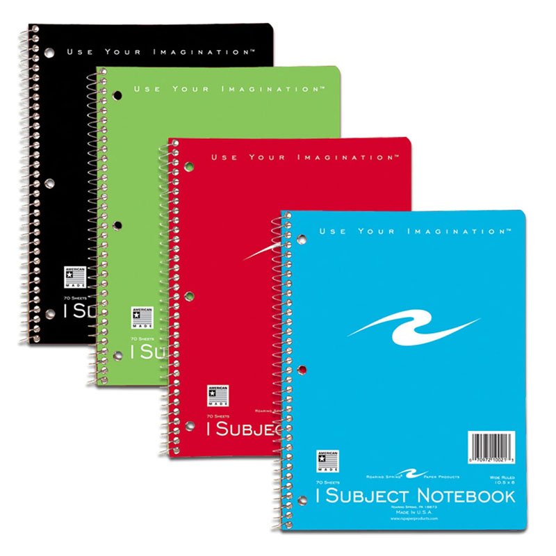 (12 EA) SPIRAL NOTEBOOK 1 SUBJECT 70 PAGES