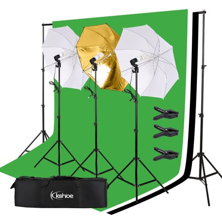 Photo Video Studio Softbox Lighting Kit, Background Support System and 45W Photo Photography Umbrella Softbox Continuous Lighting Kit Studio Light Bulb Muslin Backdrop (Tlx 2v Video Stand)