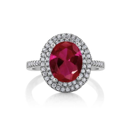3.80 Ct Oval Red Created Ruby 925 Sterling Silver Ring - image 3 de 4