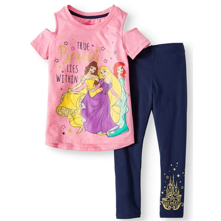 Belle, Rapunzel, and Ariel Tee and Legging 2-Piece Outfit Set (Little Girls)