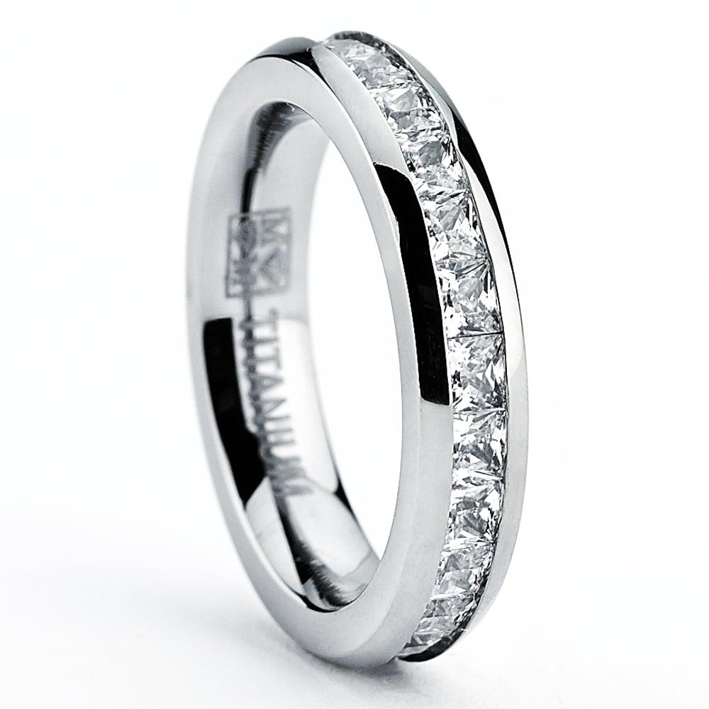 3MM Bague de Mariage en Titane Or Rose avec zircone cubique pour Femme Int/érieur Confort Ultimate Metals Co