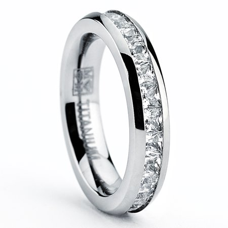 3MM High Polish Princess Cut Ladies Eternity Titanium Ring Wedding Band with Cubic Zirconia CZ Size 4 To 9