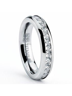 3MM High Polish Princess Cut Ladies Eternity Titanium Ring Wedding Band with Cubic Zirconia CZ Size 4 To 11