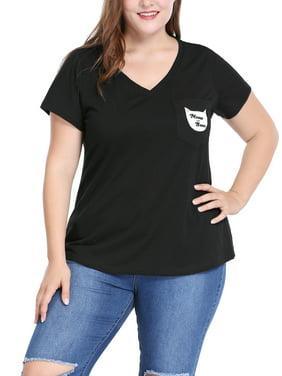 3a039f815590 Product Image Unique Bargains Women's Plus Size Cat Print V-neck Tee Black ( Size ...